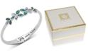 Anne Klein Silver-Tone Stone Flower Hinged Bangle Bracelet