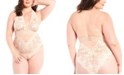 iCollection Plus Size Chloe Lace Day and Night Halter Bodysuit, Online Only