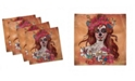 """Ambesonne Day of the Dead Set of 4 Napkins, 12"""" x 12"""""""