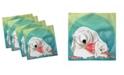 "Ambesonne Polar Bear Set of 4 Napkins, 12"" x 12"""