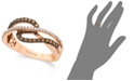 Le Vian Chocolate by Petite Chocolate and White Diamond (3/8 ct. t.w.) Ring in 14k Rose Gold