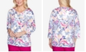 Alfred Dunner Plus Size Three Quarter Sleeve Scroll Center Lace Knit Top