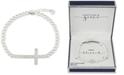 Unwritten Gratitude & Grace Cubic Zirconia Imitation Pearl Cross Bracelet in Fine Silver-Plate