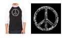 LA Pop Art Peace in 77 Languages Men's Raglan Word Art T-shirt