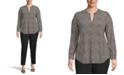 Anne Klein Plus Size Dot-Print Split-Neck Top