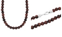 C&C Jewelry Macy's Men's Red Tiger's Eye Bead Necklace in .925 Sterling Silver