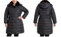 London Fog Plus Size Faux-Fur Collar Hooded Down Puffer Coat