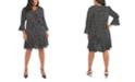 London Times Plus Size Printed Scuba-Crepe Ruffle A-Line Dress