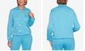 Alfred Dunner Women's Plus Size Long Weekend Spliced Asymmetric Floral Top