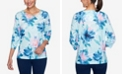 Alfred Dunner Women's Plus Size Denim Friendly Watercolor Floral Top