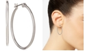 "Nine West Silver Tone 1-1/3"" Hoop Earrings"