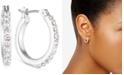 """Anne Klein Silver-Tone Crystal Small 1/2"""" Hoop Earrings"""