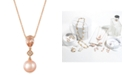 Le Vian Peach Morganite™ (9/10 ct. t.w.), Pink Cultured Freshwater Pearl (10mm) and Diamond Accent Pendant Necklace in 14k Rose Gold