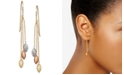 Macy's Tri-Color Beaded Chain Drop Earrings in 10k Gold, White Gold & Rose Gold