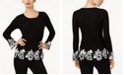 INC International Concepts I.N.C. Ribbed Crochet-Lace Sweater, Created for Macy's