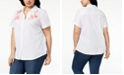 Karen Scott Plus Size Cotton Embroidered Swiss Dot Shirt, Created for Macy's