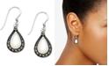 Macy's Mother-of-Pearl & Marcasite Teardrop Drop Earrings in Fine Silver-Plate