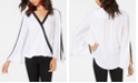 INC International Concepts INC Contrast-Stripe Surplice Top, Created for Macy's
