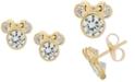 Disney Children's Cubic Zirconia Minnie Mouse Stud Earrings in 14k Gold