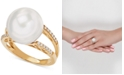 Honora White Cultured Ming Pearl (13mm) & Diamond (1/8 ct. t.w.) Ring in 14k Gold