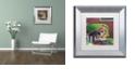 "Trademark Global Jenny Newland 'Poker Dogs 3' Matted Framed Art, 11"" x 11"""