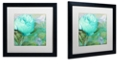 "Trademark Global Color Bakery 'Aqua Rose I' Matted Framed Art, 16"" x 16"""