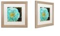 "Trademark Global Color Bakery 'Blue Peony Dark' Matted Framed Art, 16"" x 16"""