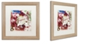 "Trademark Global Color Bakery 'Bluebird Christmas I' Matted Framed Art, 16"" x 16"""