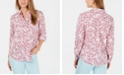 Charter Club Petite Linen Floral Roll-Tab Shirt, Created for Macy's