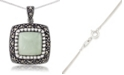 """Macy's  Jade (11 x 11mm) & Marcasite Square Pendant on 18"""" Chain in Sterling Silver"""