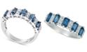 Macy's Sapphire (3-1/6 ct. t.w.) & Diamond (1/6 ct. t.w.) Ring in 14k White Gold