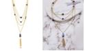 Catherine Malandrino Women's Multicolored Geo Jewels Yellow Gold-Tone Layered Rolo Chain Tassel Necklace