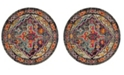 "Safavieh Monaco Gray and Fuchsia 6'7"" x 6'7"" Round Area Rug"