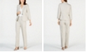 Kasper One-Button Shawl-Collar Scrunch-Sleeve Blazer, V-Neck Top & Linen Pants