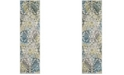 """Safavieh Watercolor Ivory and Peacock Blue 2'2"""" x 6' Runner Area Rug"""