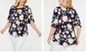 Charter Club Plus Size Printed Flutter-Sleeve Top, Created for Macy's