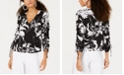 Bar III Printed Ruched-Sleeve Top, Created for Macy's