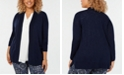 Charter Club Plus Size Cotton Open-Front Cardigan, Created for Macy's