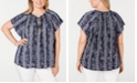 Charter Club Plus Size Rope-Print Top, Created for Macy's