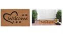 """Home & More Open Heart Paws 17"""" x 29"""" Coir/Vinyl Doormat"""