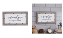 Danya B Family Gathers Here Metal Wall Art with Quote in Wooden Frame