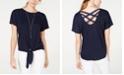 BCX Juniors' Tie-Front Lattice-Back Blouse with Necklace