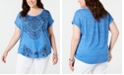 Style & Co Plus Size Graphic Cuffed T-Shirt, Created for Macy's