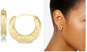 Signature Gold Diamond Accent Claddagh Heart Hoop Earrings in 14k Gold Over Resin, Created for Macy's