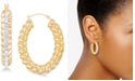 Signature Gold Crystal & Diamond Accent Braided Hoop Earrings in 14k Gold Over Resin, Created for Macy's