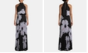 Betsy & Adam Printed Chiffon Gown