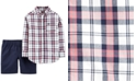 Carter's Toddler Boys 2-Pc. Cotton Plaid Shirt & Shorts Set