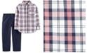Carter's Baby Boys 2-Pc. Cotton Plaid Button-Front Top & Pants Set