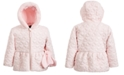 S Rothschild & CO Little Girls Hooded Quilted Coat With Faux-Fur Trim & Mittens