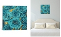 """iCanvas Roses - Teal On Gold by Kate Bennett Wrapped Canvas Print - 26"""" x 26"""""""